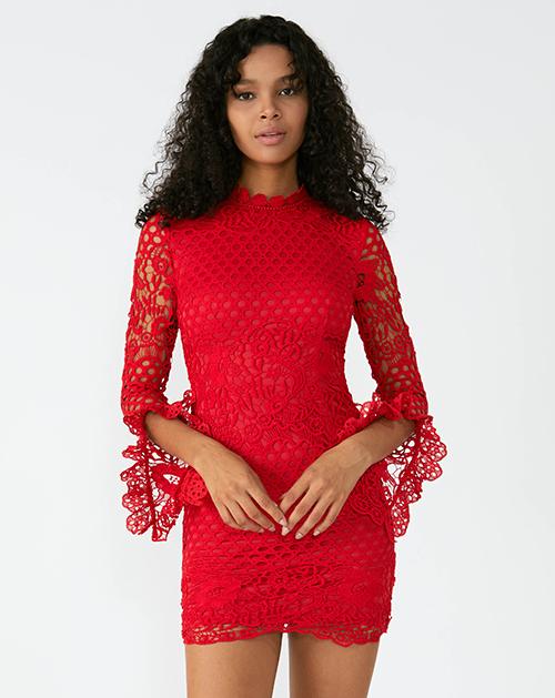 外贸服装厂2019春夏新款红色立领蕾丝连衣裙