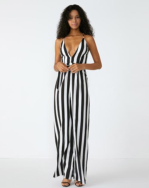 外贸服装厂2019春夏新款V领黑白条纹吊带连体裤