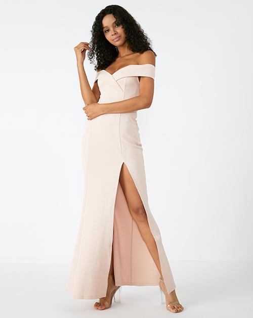 外贸服装厂2019春夏新款一字肩开衩纯色长裙