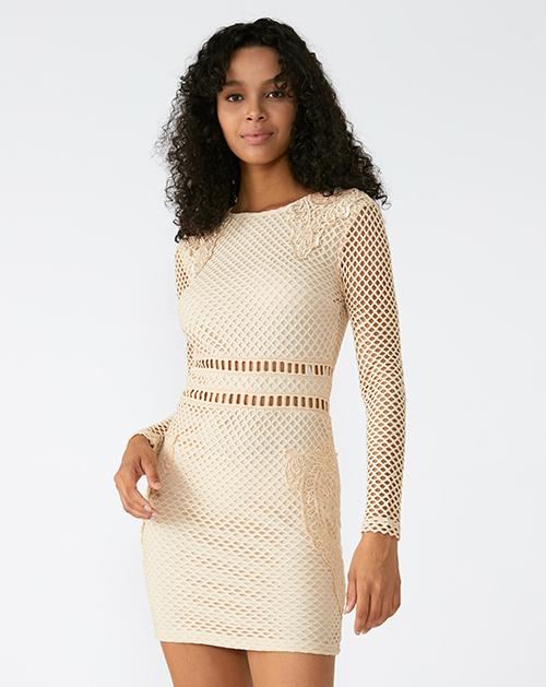 外贸服装厂2019春夏新款圆领蕾丝镂空纯色连衣裙