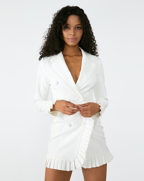 外贸服装厂欧美新款翻领长袖褶皱拼接白色包臀连衣裙