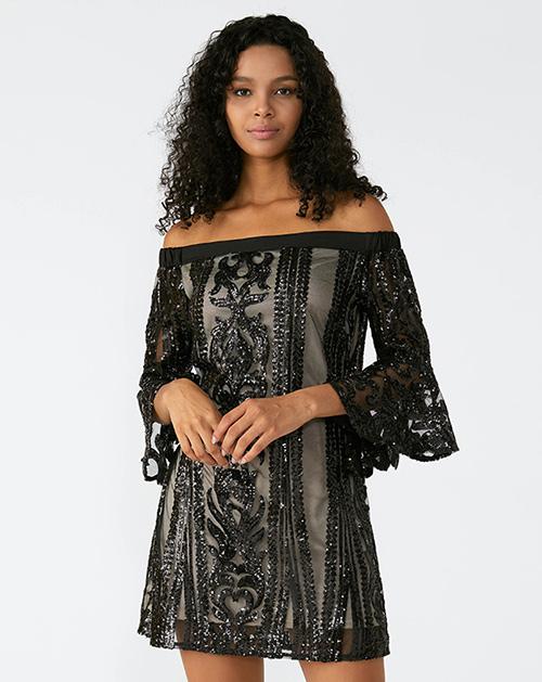 外贸服装厂2019春夏新款一字肩喇叭袖拼接亮片连衣裙