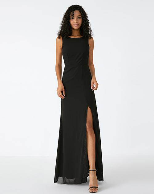 外贸服装厂春夏新款蕾丝露背无袖圆领黑色开衩连衣裙