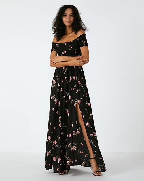 外贸服装厂2019春夏新款一字肩收腰碎花连衣裙