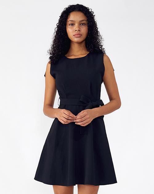外贸服装厂2019春夏新款蝴蝶结系带黑色圆领A字连衣裙