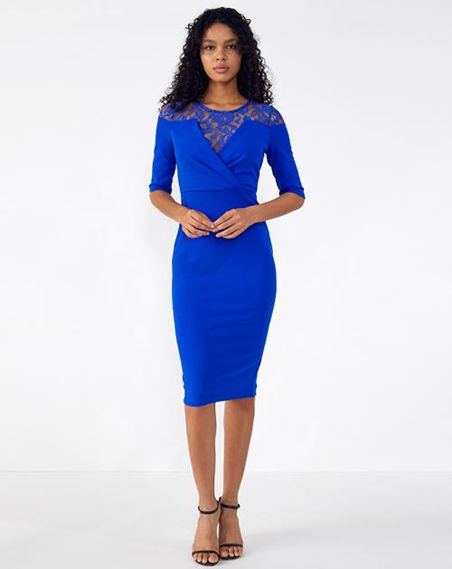 外贸服装厂2019春夏新款收腰褶皱拼接蕾丝连衣裙