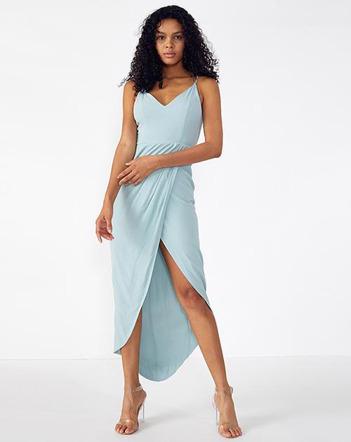 外贸服装厂2019春夏新款不规则褶皱拼接纯色吊带连衣裙