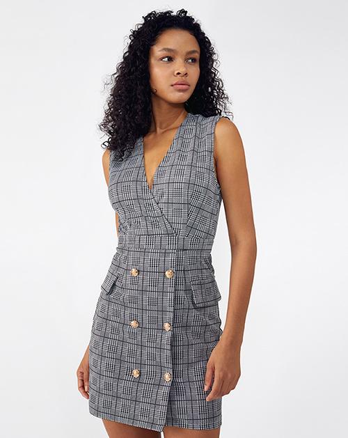 外贸服装厂2019春夏新款双排扣拼接条纹西装连衣裙