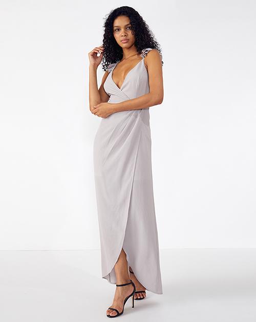外贸服装厂2019春夏新款褶皱拼接浅紫色吊带连衣裙