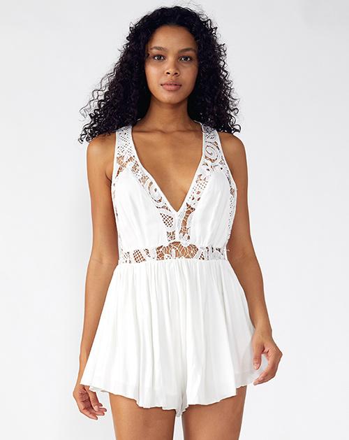 外贸服装厂2019春夏新款白色露背拼接蕾丝连体裤