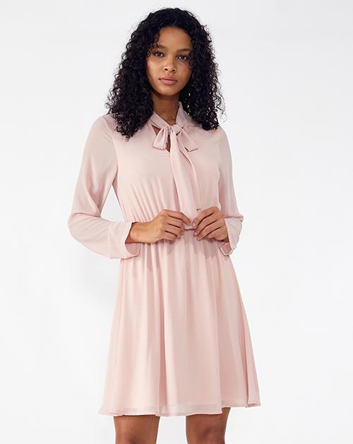 外贸服装厂2019春夏欧美新款粉色长袖雪纺连衣裙