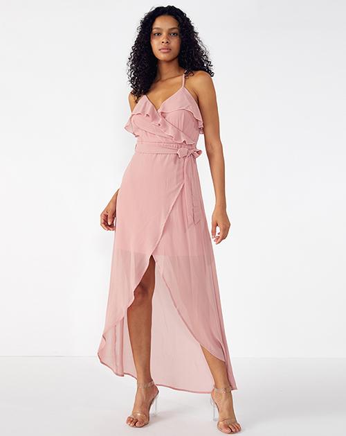 外贸服装厂2019春夏新款不规则荷叶边纯色吊带连衣裙