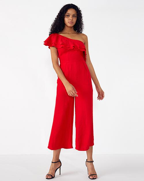 外贸服装厂2019春夏新款斜领单肩红色荷叶边连体裤