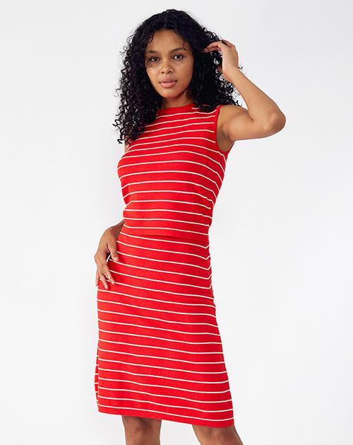 外贸服装厂2019春夏新款圆领无袖红色条纹套装裙子