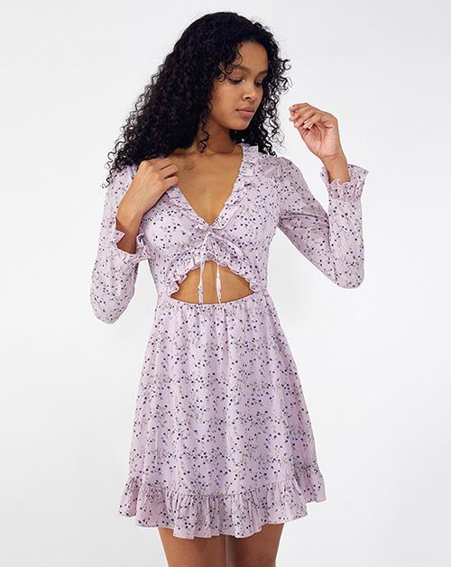 外贸服装厂2019春夏新款紫色收腰波点连衣裙