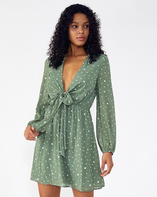 广州服装厂蝴蝶结系带V领灯笼袖波点连衣裙