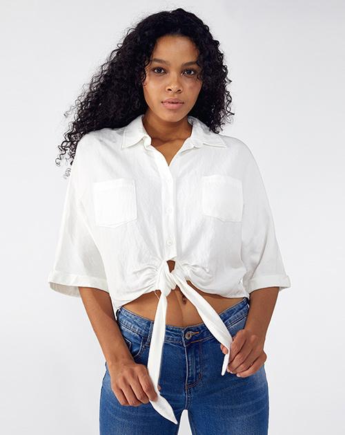 广州服装厂绑带白色衬衫短款上衣