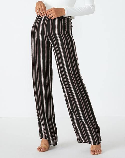 广州服装厂条纹高腰阔腿裤