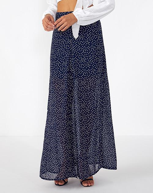 广州服装厂波点高腰开衩半身裙长裙