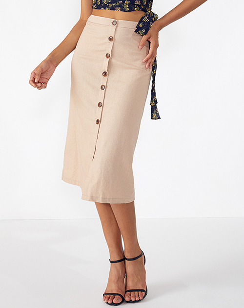 广州服装厂单排扣棉麻高腰半身裙
