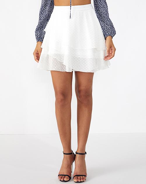 广州服装厂三层荷叶边波点雪纺半身裙