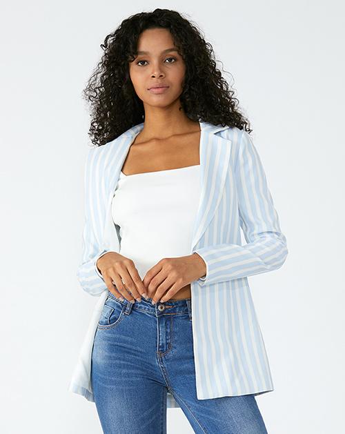 广州服装厂蓝白条纹西装外套