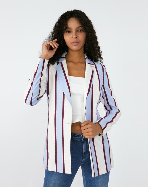 广州服装厂撞色条纹西装外套