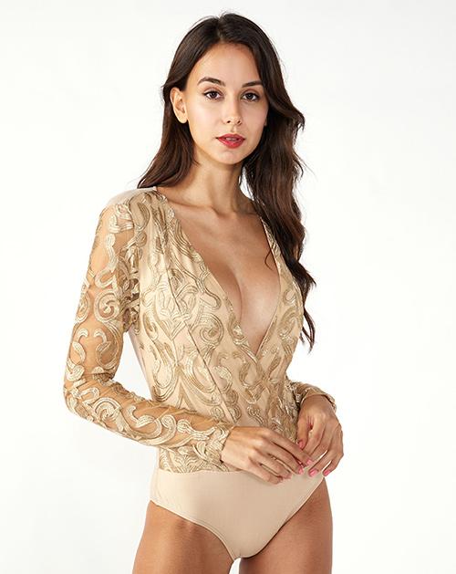 女装生产厂家V领金色图案长袖上衣