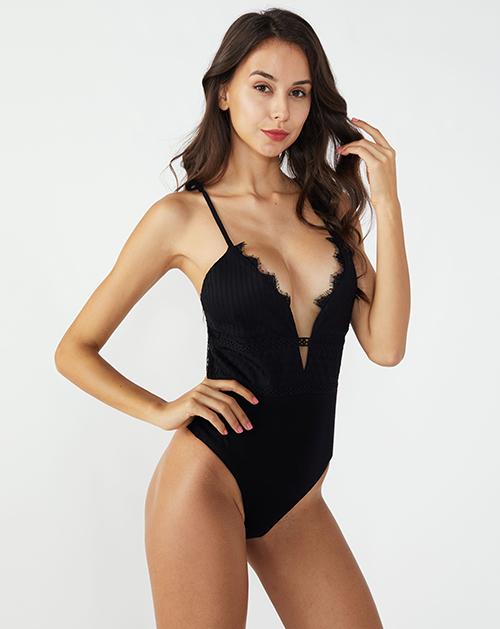 广州服装加工厂家V领蕾丝拼接吊带背心