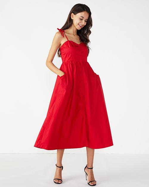 广州服装制造厂单排扣口袋红色吊带连衣裙