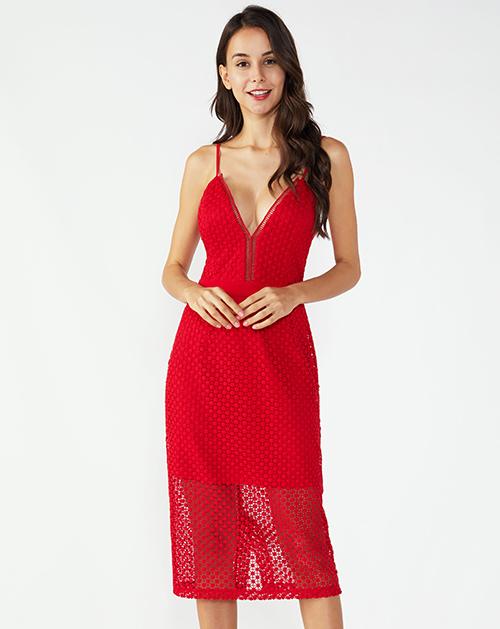 广州女装工厂V领蕾丝吊带连衣裙