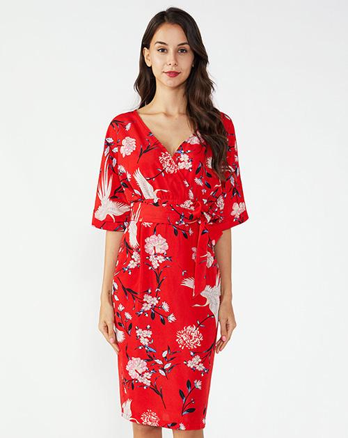 广州连衣裙厂家V领系带碎花连衣裙