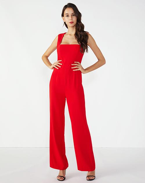 女装生产厂家红色收腰吊带连体裤阔腿裤