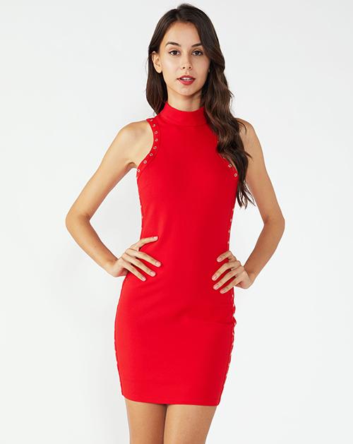 广州连衣裙厂家红色立领无袖修身连衣裙