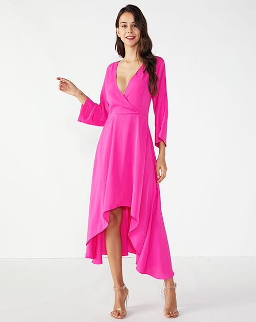 外贸服装工厂V领喇叭袖前短后长连衣裙