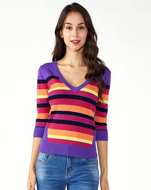 服装加工厂V领七分袖撞色条纹毛衣