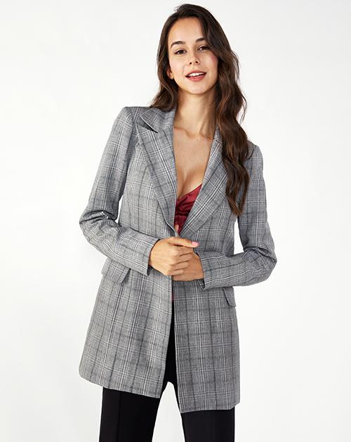 广州外贸服装厂修身格子西装外套