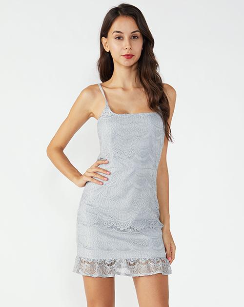 广州女装工厂鱼尾系带吊带蕾丝连衣裙