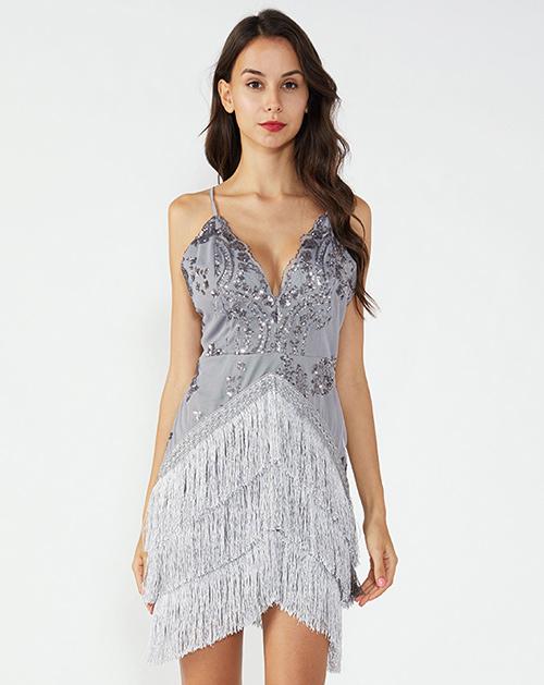女装贴牌吊带流苏裙摆亮片连衣裙