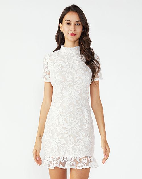 广州女装工厂立领蕾丝漏背鱼尾连衣裙