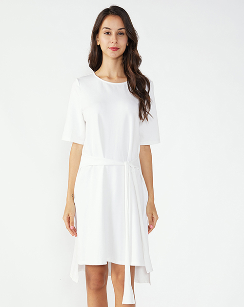 广州连衣裙厂家系带不规则T恤连衣裙