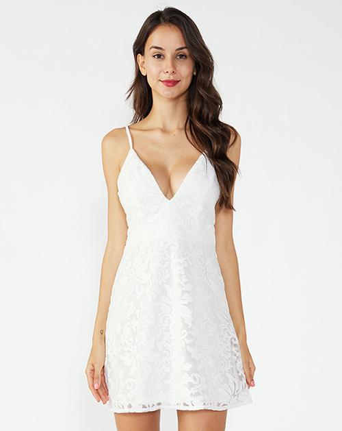 广州服装加工厂家V领吊带蕾丝连衣裙