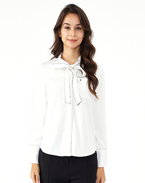 广州服装制造厂蝴蝶结系带白色衬衫