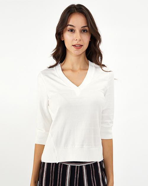 服装厂衣服厂V领五分袖条纹针织T恤