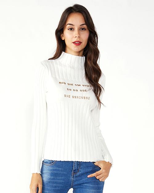女装厂字母印花坑条半高领毛衣针织上衣