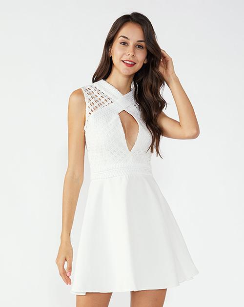 广州服装加工厂家V领无袖蕾丝拼接连衣裙