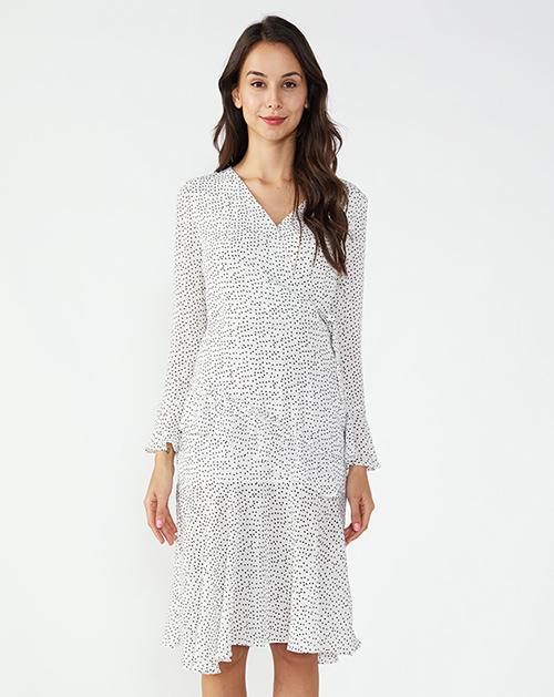 女装厂V领喇叭袖鱼尾波点连衣裙