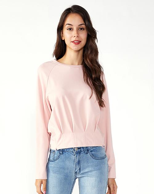 广州服装加工厂家粉色圆领工字褶T恤上衣