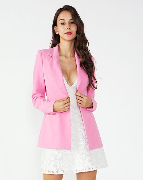 广州外贸服装厂粉色西装外套