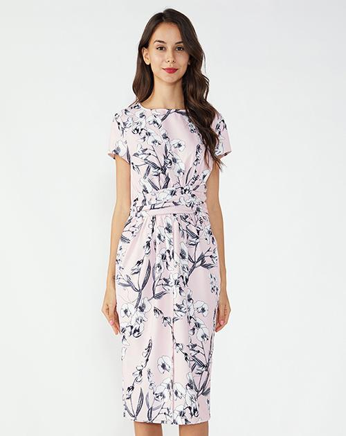 女装服装厂圆领收腰褶皱中长碎花连衣裙